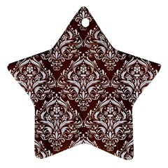 Damask1 White Marble & Reddish Brown Wood Star Ornament (two Sides) by trendistuff