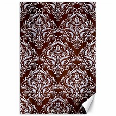 Damask1 White Marble & Reddish Brown Wood Canvas 20  X 30   by trendistuff