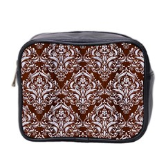 Damask1 White Marble & Reddish Brown Wood Mini Toiletries Bag 2 Side by trendistuff