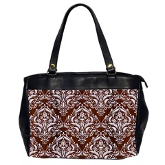 Damask1 White Marble & Reddish Brown Wood Office Handbags (2 Sides)  by trendistuff