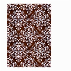 Damask1 White Marble & Reddish Brown Wood Small Garden Flag (two Sides) by trendistuff