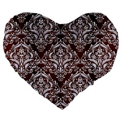Damask1 White Marble & Reddish Brown Wood Large 19  Premium Flano Heart Shape Cushions by trendistuff