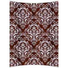 Damask1 White Marble & Reddish Brown Wood Back Support Cushion by trendistuff