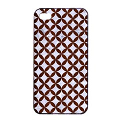 Circles3 White Marble & Reddish Brown Wood (r) Apple Iphone 4/4s Seamless Case (black) by trendistuff