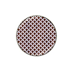 Circles3 White Marble & Reddish Brown Wood Hat Clip Ball Marker (4 Pack) by trendistuff