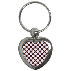 Circles2 White Marble & Reddish Brown Wood Key Chains (heart)  by trendistuff