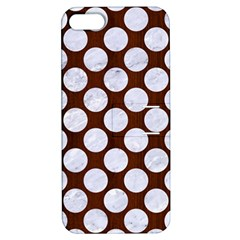 Circles2 White Marble & Reddish Brown Wood Apple Iphone 5 Hardshell Case With Stand