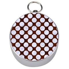 Circles2 White Marble & Reddish Brown Wood Silver Compasses by trendistuff