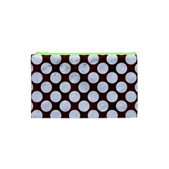 Circles2 White Marble & Reddish Brown Wood Cosmetic Bag (xs) by trendistuff