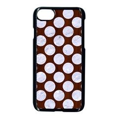 Circles2 White Marble & Reddish Brown Wood Apple Iphone 8 Seamless Case (black)