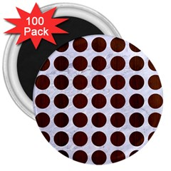 Circles1 White Marble & Reddish Brown Wood (r) 3  Magnets (100 Pack) by trendistuff