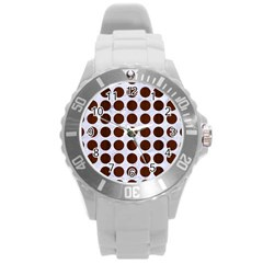 Circles1 White Marble & Reddish Brown Wood (r) Round Plastic Sport Watch (l) by trendistuff