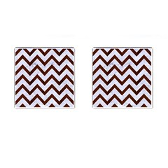 Chevron9 White Marble & Reddish Brown Wood (r) Cufflinks (square) by trendistuff