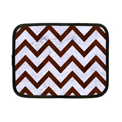 Chevron9 White Marble & Reddish Brown Wood (r) Netbook Case (small)  by trendistuff