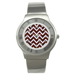 Chevron9 White Marble & Reddish Brown Wood Stainless Steel Watch by trendistuff