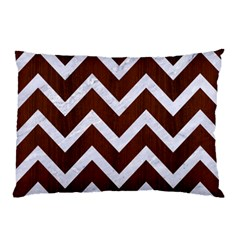 Chevron9 White Marble & Reddish Brown Wood Pillow Case by trendistuff