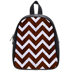 Chevron9 White Marble & Reddish Brown Wood School Bag (small) by trendistuff