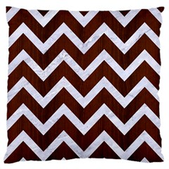 Chevron9 White Marble & Reddish Brown Wood Standard Flano Cushion Case (one Side) by trendistuff