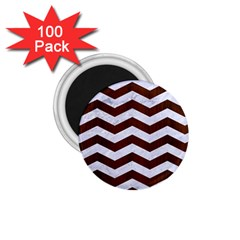 Chevron3 White Marble & Reddish Brown Wood 1 75  Magnets (100 Pack)  by trendistuff