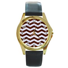 Chevron3 White Marble & Reddish Brown Wood Round Gold Metal Watch by trendistuff