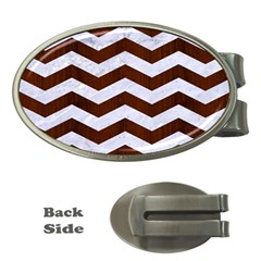Chevron3 White Marble & Reddish Brown Wood Money Clips (oval)  by trendistuff