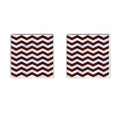 Chevron3 White Marble & Reddish Brown Wood Cufflinks (square) by trendistuff