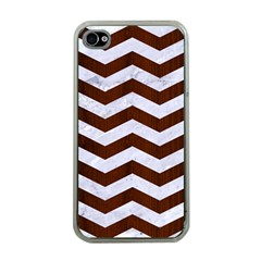 Chevron3 White Marble & Reddish Brown Wood Apple Iphone 4 Case (clear)
