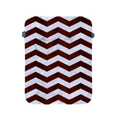 Chevron3 White Marble & Reddish Brown Wood Apple Ipad 2/3/4 Protective Soft Cases by trendistuff