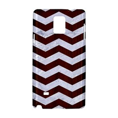 Chevron3 White Marble & Reddish Brown Wood Samsung Galaxy Note 4 Hardshell Case by trendistuff