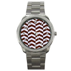 Chevron2 White Marble & Reddish Brown Wood Sport Metal Watch by trendistuff