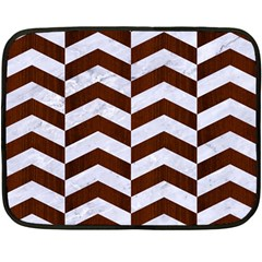 Chevron2 White Marble & Reddish Brown Wood Double Sided Fleece Blanket (mini)  by trendistuff