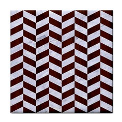 Chevron1 White Marble & Reddish Brown Wood Tile Coasters by trendistuff