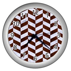 Chevron1 White Marble & Reddish Brown Wood Wall Clocks (silver)  by trendistuff