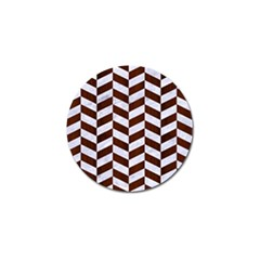 Chevron1 White Marble & Reddish Brown Wood Golf Ball Marker (4 Pack) by trendistuff