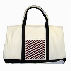 Chevron1 White Marble & Reddish Brown Wood Two Tone Tote Bag by trendistuff