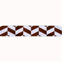 Chevron1 White Marble & Reddish Brown Wood Small Bar Mats by trendistuff