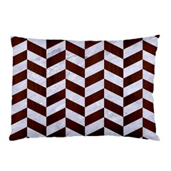 Chevron1 White Marble & Reddish Brown Wood Pillow Case by trendistuff