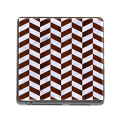 Chevron1 White Marble & Reddish Brown Wood Memory Card Reader (square) by trendistuff