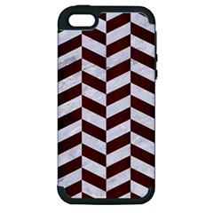 Chevron1 White Marble & Reddish Brown Wood Apple Iphone 5 Hardshell Case (pc+silicone)