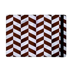 Chevron1 White Marble & Reddish Brown Wood Apple Ipad Mini Flip Case