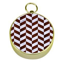 Chevron1 White Marble & Reddish Brown Wood Gold Compasses by trendistuff