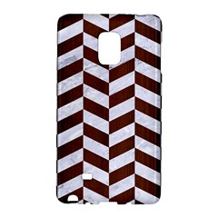 Chevron1 White Marble & Reddish Brown Wood Galaxy Note Edge by trendistuff