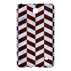 Chevron1 White Marble & Reddish Brown Wood Samsung Galaxy Tab 4 (7 ) Hardshell Case  by trendistuff
