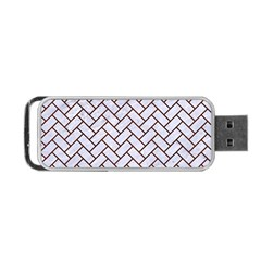 Brick2 White Marble & Reddish Brown Wood (r) Portable Usb Flash (one Side) by trendistuff