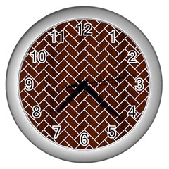 Brick2 White Marble & Reddish Brown Wood Wall Clocks (silver)  by trendistuff