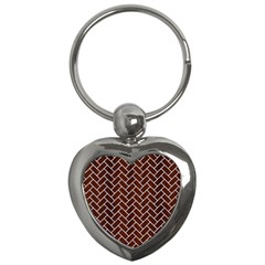 Brick2 White Marble & Reddish Brown Wood Key Chains (heart)  by trendistuff