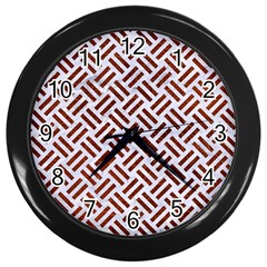 Woven2 White Marble & Reddish Brown Leather (r) Wall Clocks (black) by trendistuff