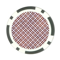 Woven2 White Marble & Reddish Brown Leather (r) Poker Chip Card Guard by trendistuff