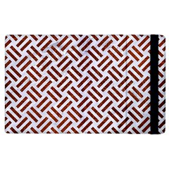 Woven2 White Marble & Reddish Brown Leather (r) Apple Ipad 2 Flip Case by trendistuff
