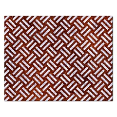 Woven2 White Marble & Reddish Brown Leather Rectangular Jigsaw Puzzl by trendistuff